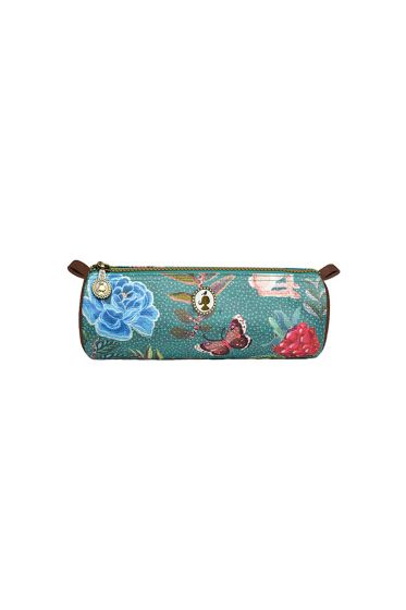 Telling Tales blue round pencil case