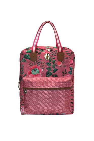 Telling Tales pink backpack with double carrying handles