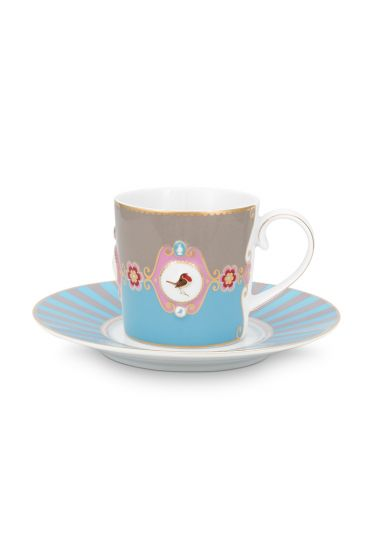 Love Birds Cup & Saucer Blue/Khaki