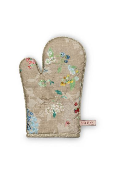 Oven Gloves Hummingbirds Khaki