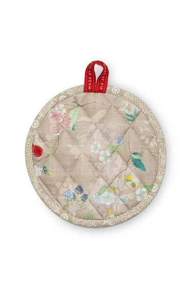 Round Pot Holder Hummingbirds Khaki