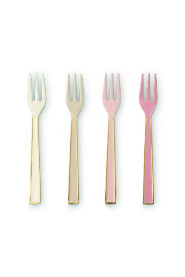 Spring to Life set van 4 geëmailleerde gebaksvorkjes off white en roze