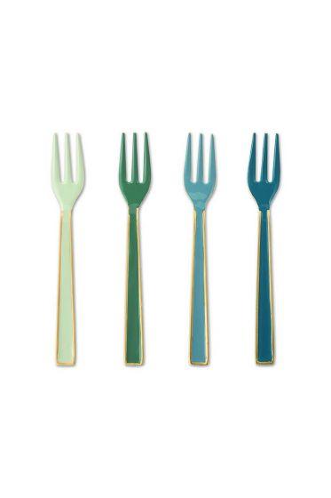 Spring to Life set van 4 geëmailleerde gebaksvorkjes groen en blauw