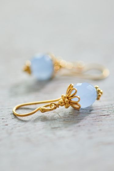 Earrings goldplated Ballerina blue Chalcedony