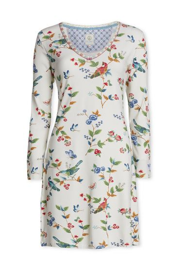 Long sleeve nightdress Birdy off white