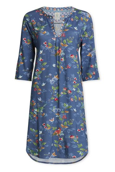 Nightdress with 3/4 length sleeves Birdy blue