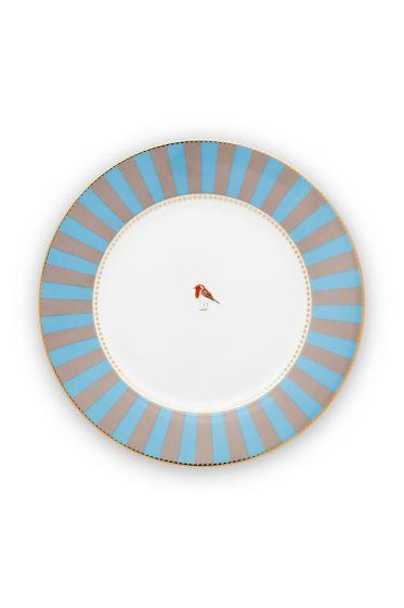 diner-bord-love-birds-in-blauw-en-khaki-met-vogel-26,5-cm
