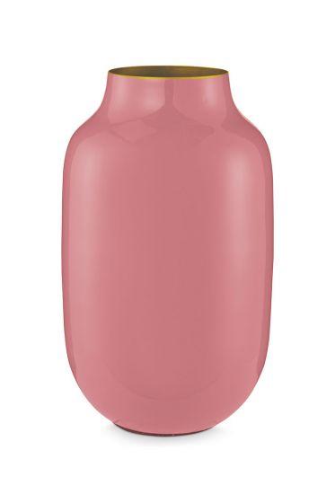 Ovalen Vaas Metaal Oud Roze