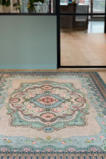 vintage-rectangular-majorelle-by-pip-carpets-in-pastel-blue-with-flower-details