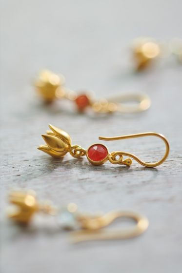 Earrings goldplated Lilly Carnelian
