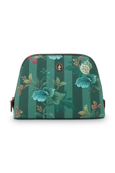 medium-cosmetic-leafy-stitch-in-green -with-stripe-and-flower-design-and-zipper