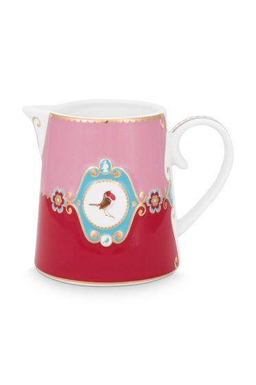 milch-kännchen-love-birds-klein-in-rot-und-rosa-mit-vogel