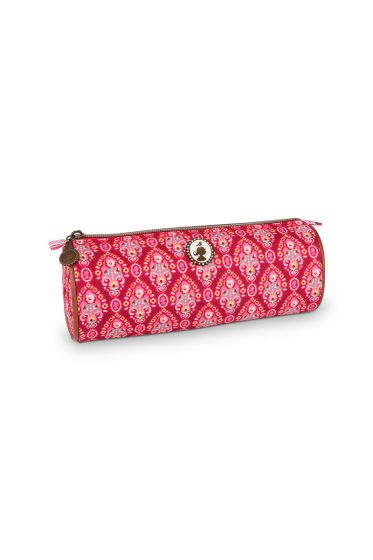 Pencil case round Indian Festival red