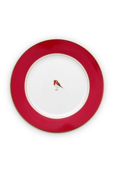 ontbijt-bord-love-birds-in-rood-met-volgel-21-cm