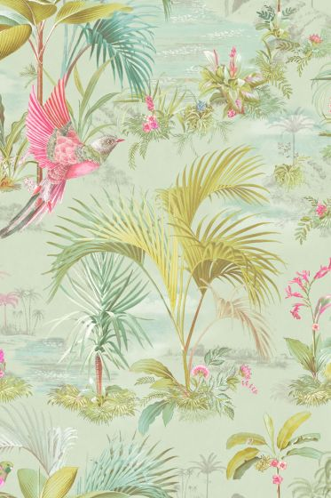 Palm Scene Wallpaper Green