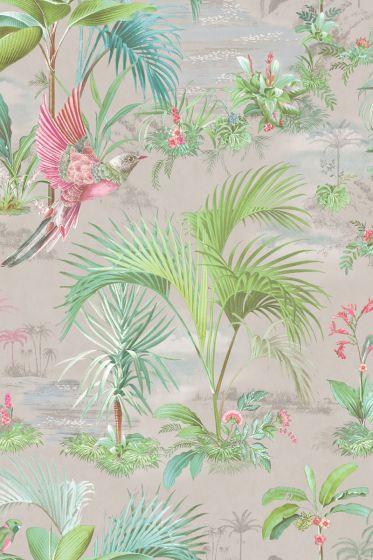 Palm Scene Behang Grijs