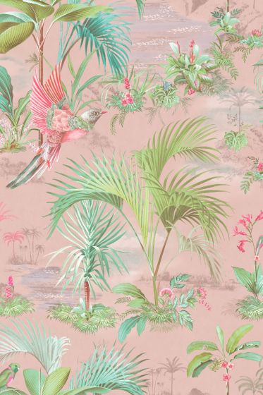 Palm Scene Wallpaper Pink