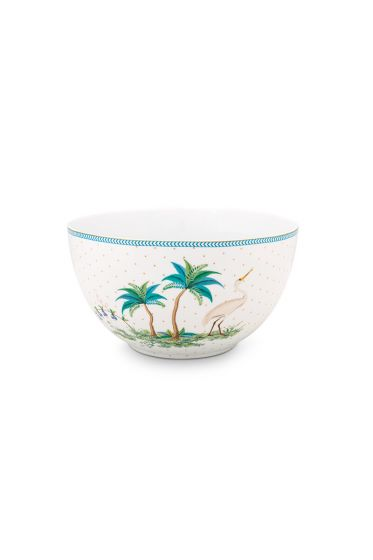 porselein-bowl-jolie-dots-gold-18-cm-2/12-wit-blauw-palmtrees-pip-studio-51.003.170