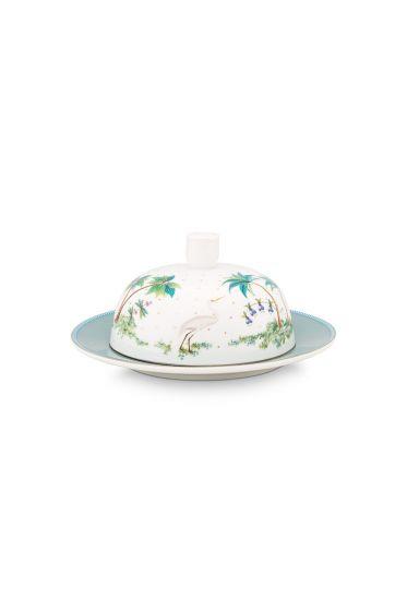 porcelein-butter-dish-round-jolie-dots-gold-17x8-cm-4/24-weib-blau-pip-studio-51.018.110