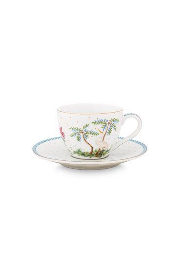 porcelein-cup-&-saucer-jolie-dots-gold-280-ml-6/24-weib-blau-baum-51.004.117