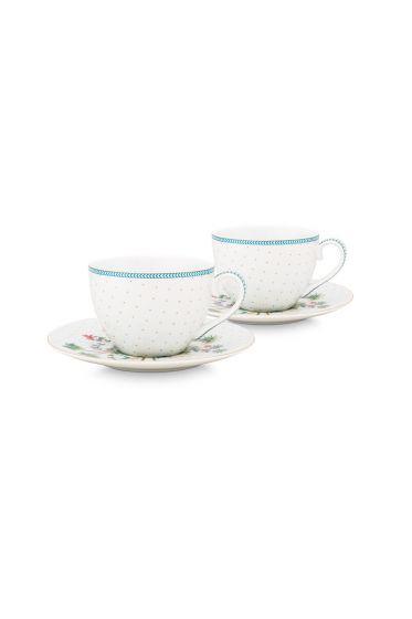 porcelein-set/2-espresso-cups-&-saucers-jolie-dots-gold-120-ml-1/24-weib-blau-blumen-51.004.118