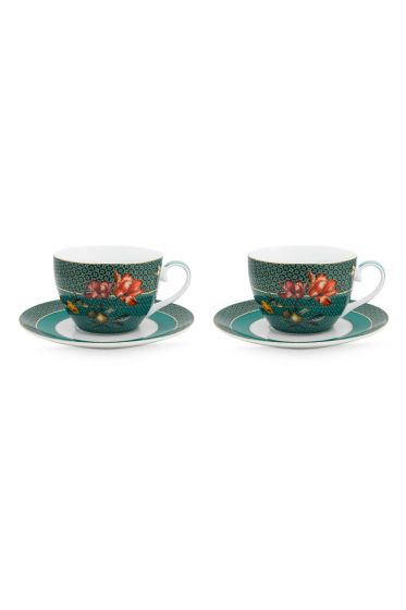 set-2-cappuccino-cup-and-saucer-winter-wonderland-made-of-porcelain-with-flowers -in-green