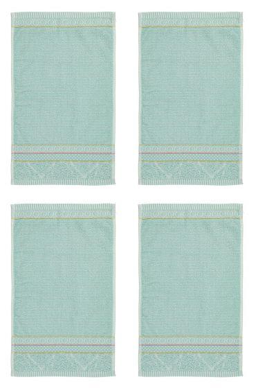 Gastendoek Set/4 Soft Zellige Blauw 30x50 cm