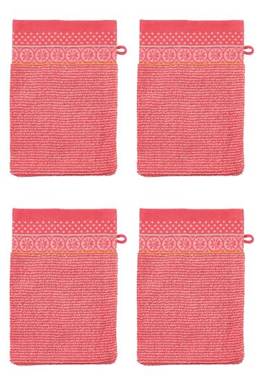 Wash Cloth Set/4 Soft Zellige Coral 16x22 cm