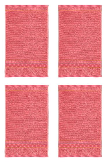 Gastendoek Set/4 Soft Zellige Koraal 30x50 cm