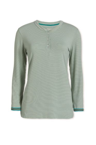 Top Long Sleeve Stripers Light Green