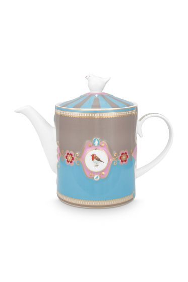 tea-pot-love-birds-medium-in-blue-and-khaki-with-bird