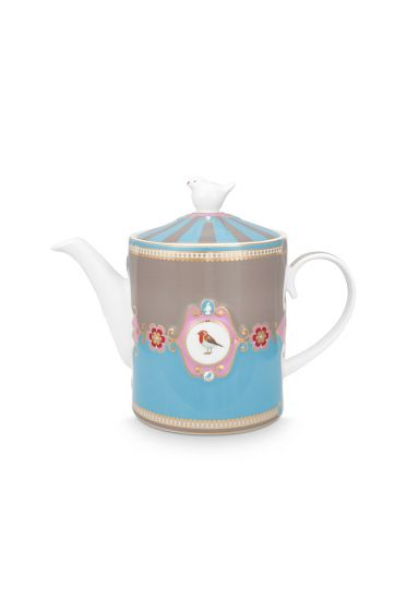 Love Birds Teapot Medium Blue/Khaki