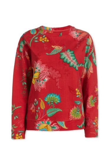 Top Long Sleeve Jambo Flower Red