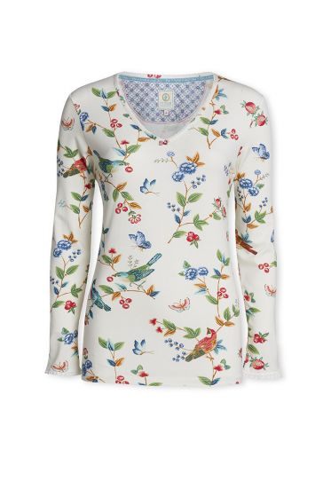 Top Long sleeve Birdy Off white