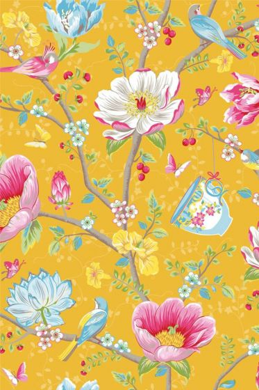 wallpaper-non-woven-vinyl-flowers-bird-yellow-pip-studio-chinese-garden