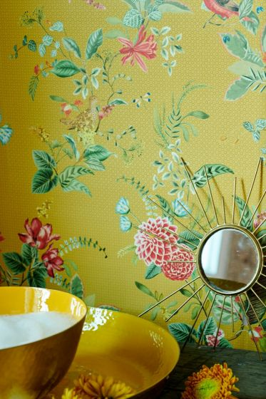 wallpaper-non-woven-vinyl-flowers-yellow-pip-studio-floris