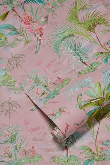 wallpaper-non-woven-vinyl-paradise-bird-palms-pink-pip-studio-palm-scene
