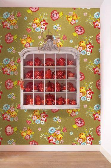 Pip Studio Bunch of Flowers Wallpower Khaki