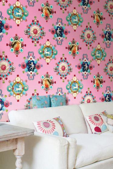 fotobehang-vliesbehang-bloemen-roze-pip-studio-ruby-robin