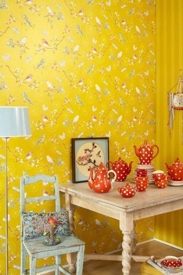 wallpaper-non-woven-flowers-yellow-pip-studio-early-bird