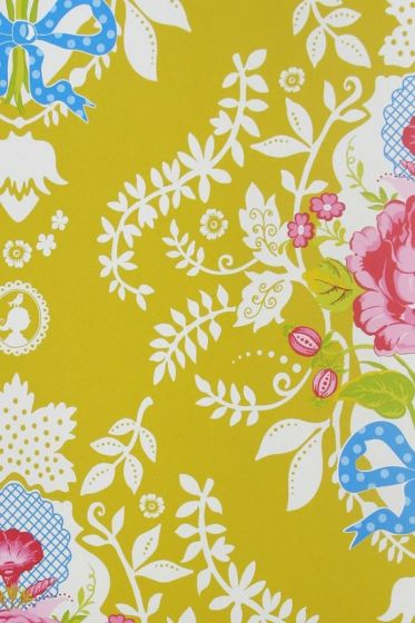 wallpaper-non-woven-flowers-yellow-pip-studio-shabby-chic