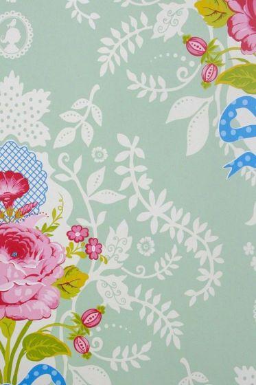 wallpaper-non-woven-flowers-green-pip-studio-shabby-chic
