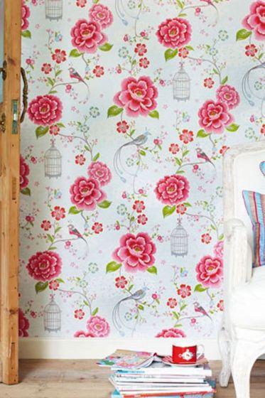 wallpaper-non-woven-flowers-white-pip-studio-birds-in-paradise