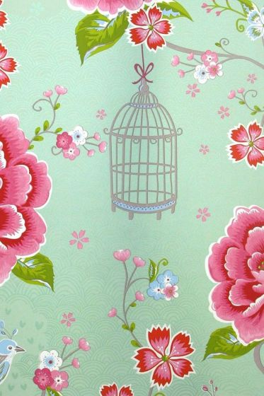 Wallpaper-non-woven-relief-flower-print-green-pip-studio-birds-in-paradise