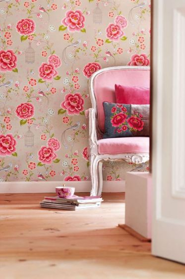Behang-vlies-reliëf-bloemen-print-khaki-pip-studio-birds-in-paradise