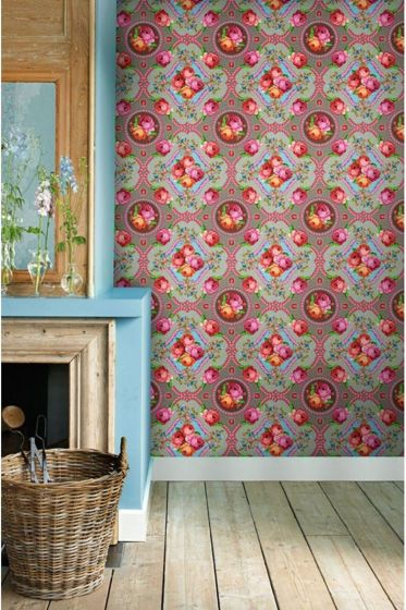 wallpower-non-woven-flowers-khaki-pip-studio-singing-roses