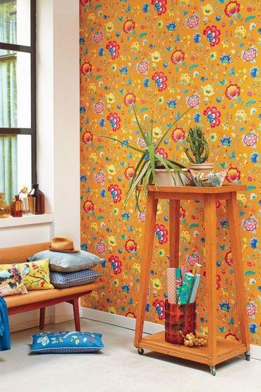 wallpaper-non-woven-vinyl-flowers-yellow-pip-studio-floral-fantasy