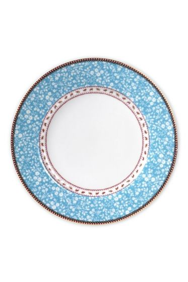 Floral dinerbord blauw