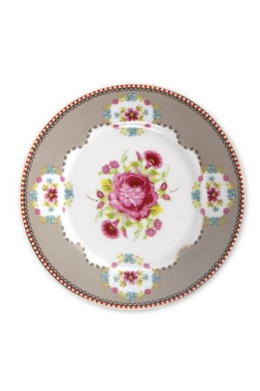 Floral Gebäckteller khaki 17 cm