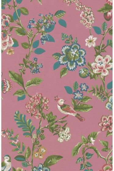 tapete-vliestapete-blumen-vogel-donkel-rosa-pip-studio-botanical-print